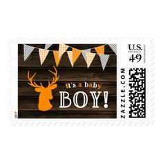 Rustic Wood Orange Deer Boy Baby Shower Postage - rustic gifts ideas customize personalize