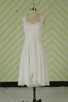White short simple wedding dress/tea length bridesmaid dress/ wedding party dress/cheap wedding gown