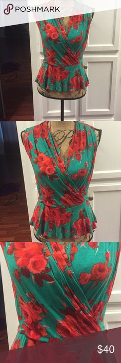 Anthropologie Weston Wear Top. XS Anthro Weston Wear Top.  XS.  Peplum style.  Gorgeous teal with red roses!  Super soft material.  Excellent condition. Anthropologie Tops Blouses