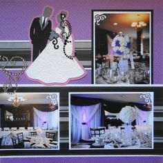 This is a wedding scrapbook page idea of the reception with a bride & groom. To learn how to make this page, just go to my blog at Wedding Scrapbook 1 at meandmycricut.com