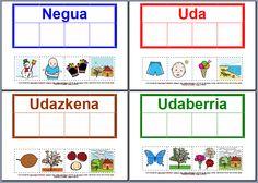 MATERIALES - Las estaciones del año (traducción al euskera).  Conjunto de actividades sobre las estaciones del año.  http://arasaac.org/materiales.php?id_material=1058