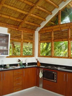 Bamboo House Design, Simple House Design, Modern House Design, Modern Tropical House, Modern Tiny House, Style At Home, Bamboo Building, Hut House, Bamboo Structure