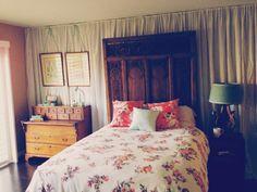 DIY curtain, homemade bedding, vintage furniture. My hard work :)
