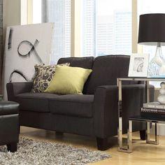 INSPIRE Q Fullerton Dark Grey Linen TrackLoveseat   Overstock™ Shopping - Great Deals on INSPIRE Q Sofas & Loveseats