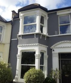 Sash Windows in the South East Terrace House Exterior, House Paint Exterior, Exterior House Colors, Exterior Color Schemes, Grey Exterior, Victorian Terrace, Victorian Houses, Dark Grey Houses, Victorian Homes Exterior