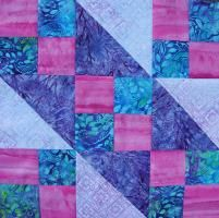 Block of the Month - September - via @Craftsy    USE WITH SCRAPPY FOUR PATCH LEADER/ENDERS - USE LIGHT COLORED SQUARES OF FOUR PATCH WHERE PLUM CHAIN IS HERE.
