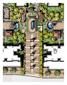 gate, entrance landscape, residential gateway, light column, welcome fountain Landscape Architecture Drawing, Landscape Sketch, Landscape Design Plans, Garden Design Plans, Landscape Concept, Architecture Plan, The Plan, How To Plan, Resort Plan
