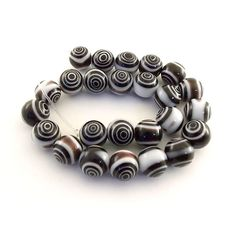 Beads Small Round Brown and White Swirl Bullseye by CinLynnBeads, $3.00