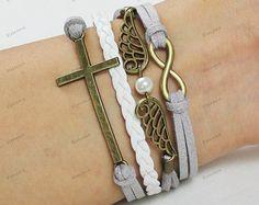 bracelets personalzied bracelets cross by Emmajins on Etsy, $5.99