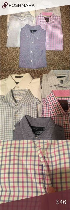 Men's Dress Shirts! Includes 5 shirts! This is a GREAT deal with the brands offered in this Lot. Included:  1 Polo Shirt: 16 32/33 classic fit  1 Perry Ellis: slim fit 16 32/33 1 John W Nordstrom traditional fit 15.5 33 1 Tattersall shirt: 16 33/33 1 Nordstrom Rack shirt: 16 32/33  The white shirt has light staining under arms, and picture 3 shows residue from dry cleaning sticker. They both may come out with dry cleaning. Polo by Ralph Lauren Shirts Dress Shirts