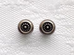Silver and Black Ornate Design Button Vintage Style Wedding Plugs Gauges Size: 0g (8mm) by PorcupineSpines on Etsy https://www.etsy.com/listing/205530214/silver-and-black-ornate-design-button