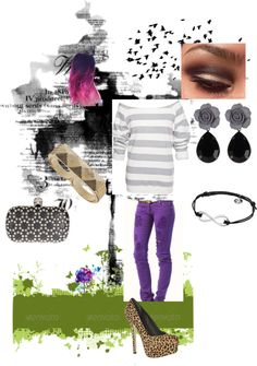 """Striped sweater and purple jeans"" by norabetcher on Polyvore"