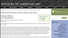 http://www.aaa.si.edu/collections/interviews/oral-history-interview-leo-holub-12356 Oral history interview with Leo Holub, 1997 July 3