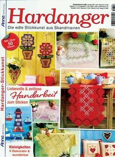This is Annas Special Hardanger A346 issue. It is packed with incredible patterns suitable for gift giving or holiday decorating. There are over 50 projects including 9 runners, 7 table toppers, 10 pillows, 12 doilies, a curtains, and gift ideas like the lighthouse and boats, flowers, coasters and tray liners.  NOTE:  The magazine is in German, however, an experienced Hardanger embroiderer should be able to figure out the patterns from the wonderful photographs and pull out charts. 31 pages.