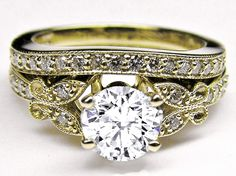 Butterfly Wedding Bands | Diamond Butterfly Vintage Engagement Ring & Matching Wedding Band 0.37 ...