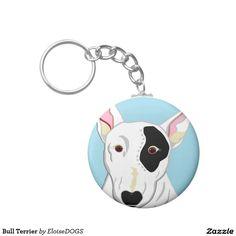 Bull Terrier Basic Round Button Keychain