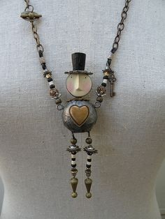 Fun robot man found object assemblage necklace pendant