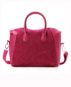 Golden Zipped Pure Color PU Leather Bag with Reinforced Base