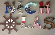 Pirate Wooden Letters, Pirate Letters, Custom Letters, Pirate Decor, Boys Room Decor, Pirate Wood Letters, Pirate Initial, Pirate Initials  by KidMuralsbyDanaR on Etsy https://www.etsy.com/listing/232611400/pirate-wooden-letters-pirate-letters