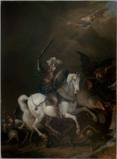 Knight Vaquishing Time, Death and Monstrous Demons ~ by Philips Wouwerman