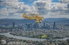 Waco Bi-Plane Fighter Pilot Adventure Flight over Brisbane. Photography by Mark Greenmantle Photography. Adventure Company, Fighter Pilot, Brisbane, Plane, Paris Skyline, Aircraft, Australia, Photography, Travel