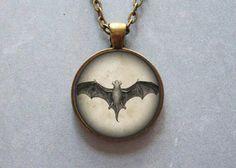 Vintage bat art pendant by Iimagedeverre on Etsy