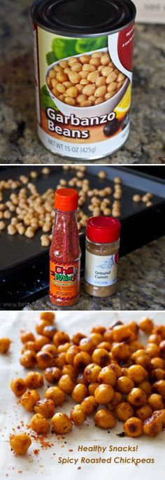 Spicy Roasted Chickpeas | Recipe By Photo  Spicy Roasted Chickpeas        One 15-ounce can chickpeas, drained and rinsed      1 tablespoon vegetable oil      1/2 teaspoon ground cumin      1/2 teaspoon Extra Hot Chili Mix