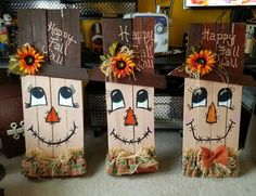 Fall Wood Crafts, Halloween Wood Crafts, Fete Halloween, Easy Fall Crafts, Fall Crafts For Kids, Thanksgiving Crafts, Holiday Crafts, Fall Craft Fairs, Wooden Crafts