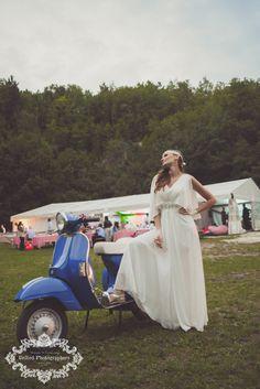 Bride and Vespa