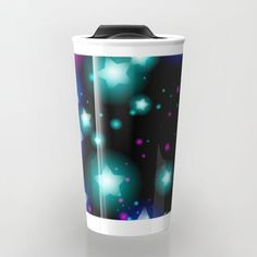 Abstract starry pattern with neon star on black background. Galaxy Night sky with stars Travel Mug