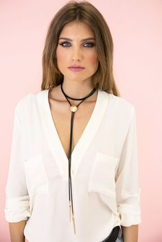 Do Point Leather Long Choker