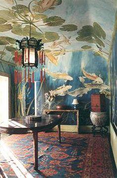 爱 Chinoiserie? Mai Qui! 爱 home decor in chinoiserie style - 'in a koi pond' mural