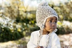 Hand knitted acrylic beanie with fun pom pom and plaited tassles - brown speckled. Available in sizes months, months, year. Hand Knitting, Boy Or Girl, Winter Outfits, Winter Hats, Crochet Hats, Beanie, Unisex, Brown, 12 Months