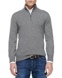 62bee471df8456 2-Ply Cashmere Half-Zip Pullover