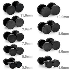 BESTSELLER! Justeel Jewelry 3MM-11MM Black Fake Ear Plugs Stainless Steel Studs Body Piercing $1.99