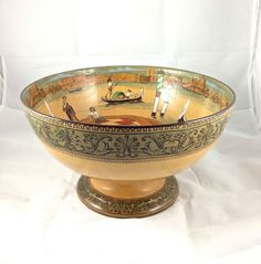 Royal Doulton 1920s Gondoliers Punchbowl British Venice Italy Ceramic Pottery