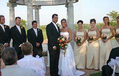 wedding ceremony facing guests