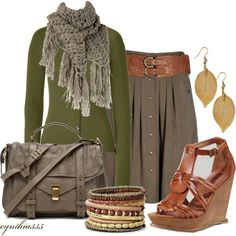 Business casual cardigan paired with flared skirt, wide belt and matching wedges