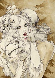 Poster Vampires Illustration Art Print Pop by BlackUnicornShop, her hair ornaments! Art And Illustration, Vampire Illustration, Illustrations, Vampire Love, Vampire Art, Fantasy Kunst, Fantasy Art, Art Kawaii, Vampires And Werewolves