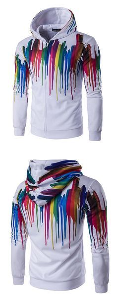 Mens Fashion 3D Printing Sweatshirt Colorful Sport Casual Hoodie