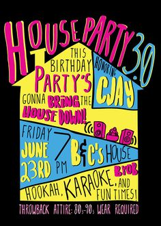 House Party Ultimate 90s Invitation Digital File You Print At Home Or Online Copy