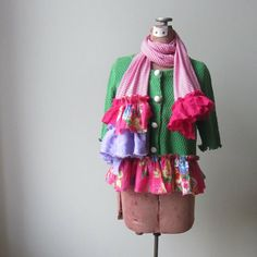 Upcycled Kelly Green Cardigan with Striped Scarf, Tattered Shabby Chic Ruffle Cardigan, Repurposed Sweater, Pink Floral Print Ruffle Sweater by GarageCoutureClothes on Etsy