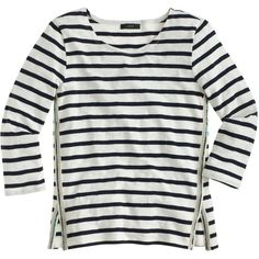 J.Crew Three-Quarter Sleeve Beaded Sailor-Striped Tee ($66) found on Polyvore featuring tops, t-shirts, shirts, sweaters, tees, white striped shirt, white stripes t shirt, white t shirt, loose fit t shirts and loose t shirt