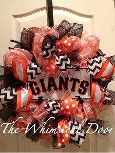 San Francisco Giants Decomesh Wreath Orange Black White Polkadot Chevron Stripe Mother's Day Father's Day on Etsy, $50.00