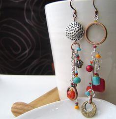 Reserved for Caroline S. - Bohémiä - Longues boucles d'oreilles totalement asymétriques - Collection Lhasa -
