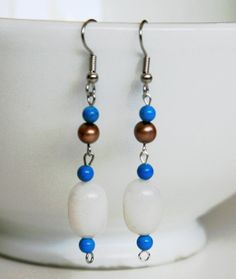 Dangle Earrings with Pearl White, Copper Brown and Blue Beads. Gift for her. Beaded Jewelry.