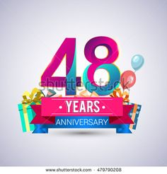 48 Years Anniversary celebration logo, with gift box and balloons, red and blue ribbon, Colorful Vector design template elements for your birthday celebration.