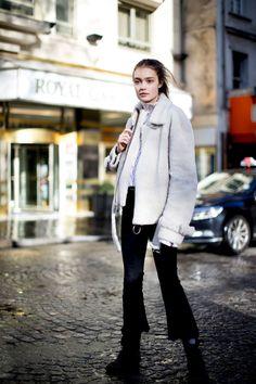 Models at Paris Fashion Week Fall 2017 - Street Fashion