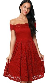 5b4f3ca3cf64 Burgundy Scalloped Off Shoulder Short Sleeve Lace Flare Dress