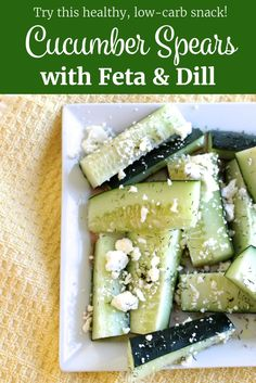 Try this healthy, low-calorie snack: Cucumber Spears with Feta and Dill | littlechefbigappetite.com | Cucumber Recipe, Feta Recipe, Dill Recipe, Healthy Snack Recipe, Low Calorie Snack, Healthy Snack Ideas, Vegetarian Snack, Gluten-Free Snack, Low Carb, Gluten Free, Vegetarian Recipe, Feta Recipe, Greek Recipe, Greek Salad, Dill weed, low cal #lowcarb #atkins #lowcarbohydrate #glutenfree #glutenfreesnack #glutenfreerecipe #vegetarianrecipe #vegetarian #cucumbers #cucumber #cucumberrecipe #salad